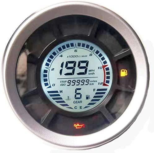 BLUERICE 6 Gear Digital Motorcycle Speedometer 199 Kph Mph Universal Speedometer Odometer Fuel Gauge Water Temperature Gauge with Mount