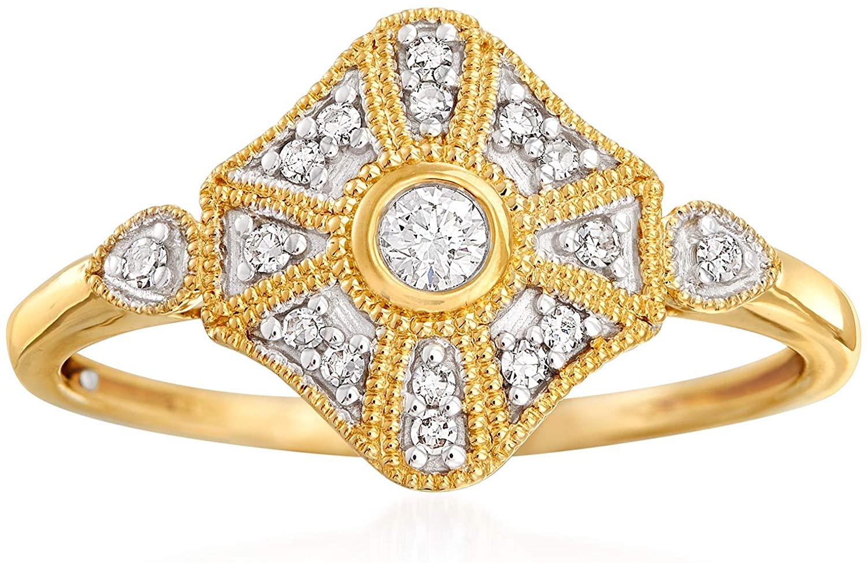 Ross-Simons 0.13 ct. t.w. Diamond Ring in 14kt Yellow Gold For Women