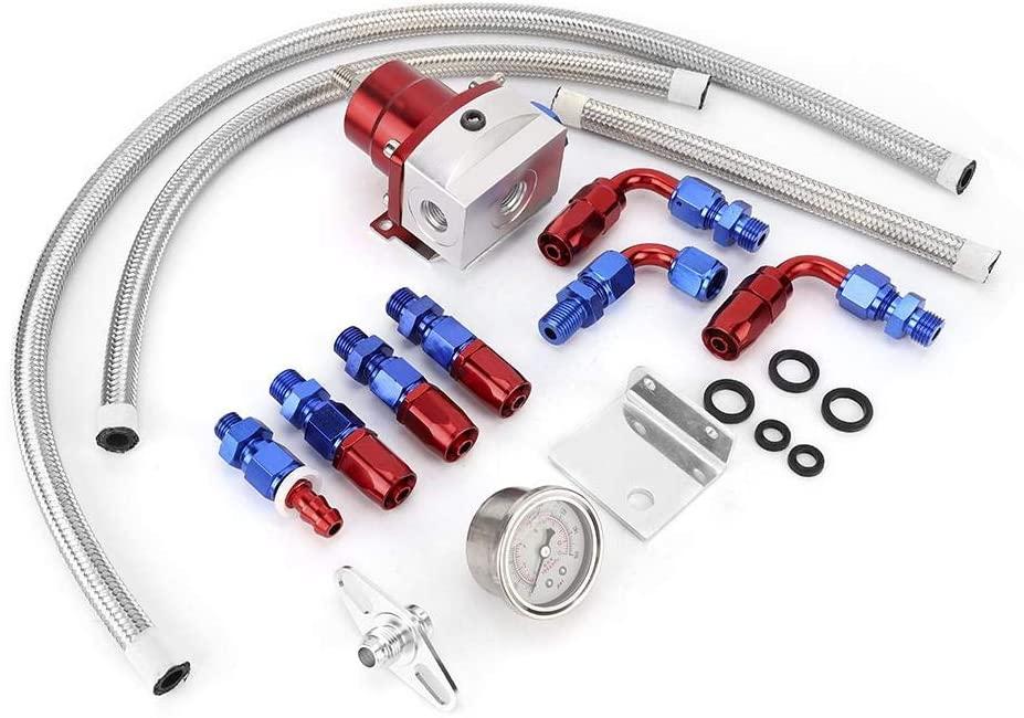 Universal 100psi Adjustable Fuel Pressure Regulator Kit with Gauge Pressure Regulator (Red silver)