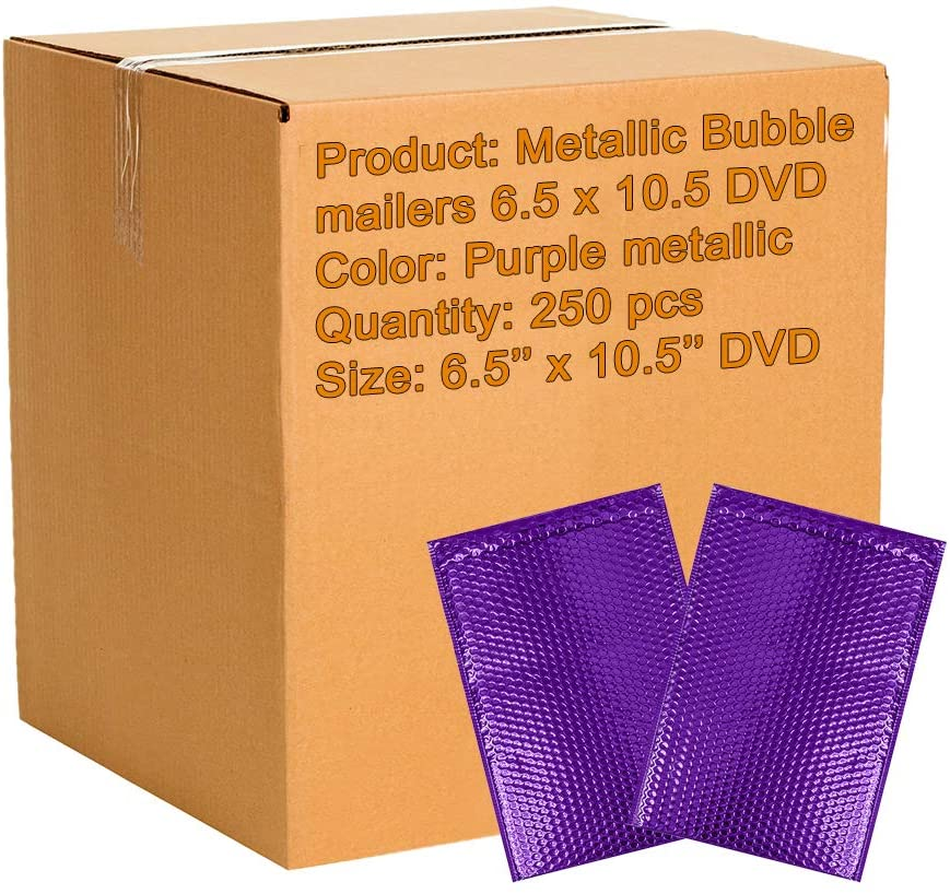 250 Pack Metallic Bubble mailers 6.5 x 10.5 DVD Size Purple Padded envelopes 6 1/2 x 10 1/2. Glamour Bubble mailers Peel and Seal. Padded mailing envelopes for Shipping, Packing, Packaging.