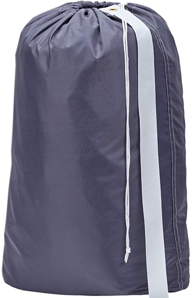 HOMEST XL Nylon Laundry Bag with Strap, Machine Washable Large Dirty Clothes Organizer, Easy Fit a Laundry Hamper or Basket, Can Carry Up to 4 Loads of Laundry, Grey, (Patent Pending)
