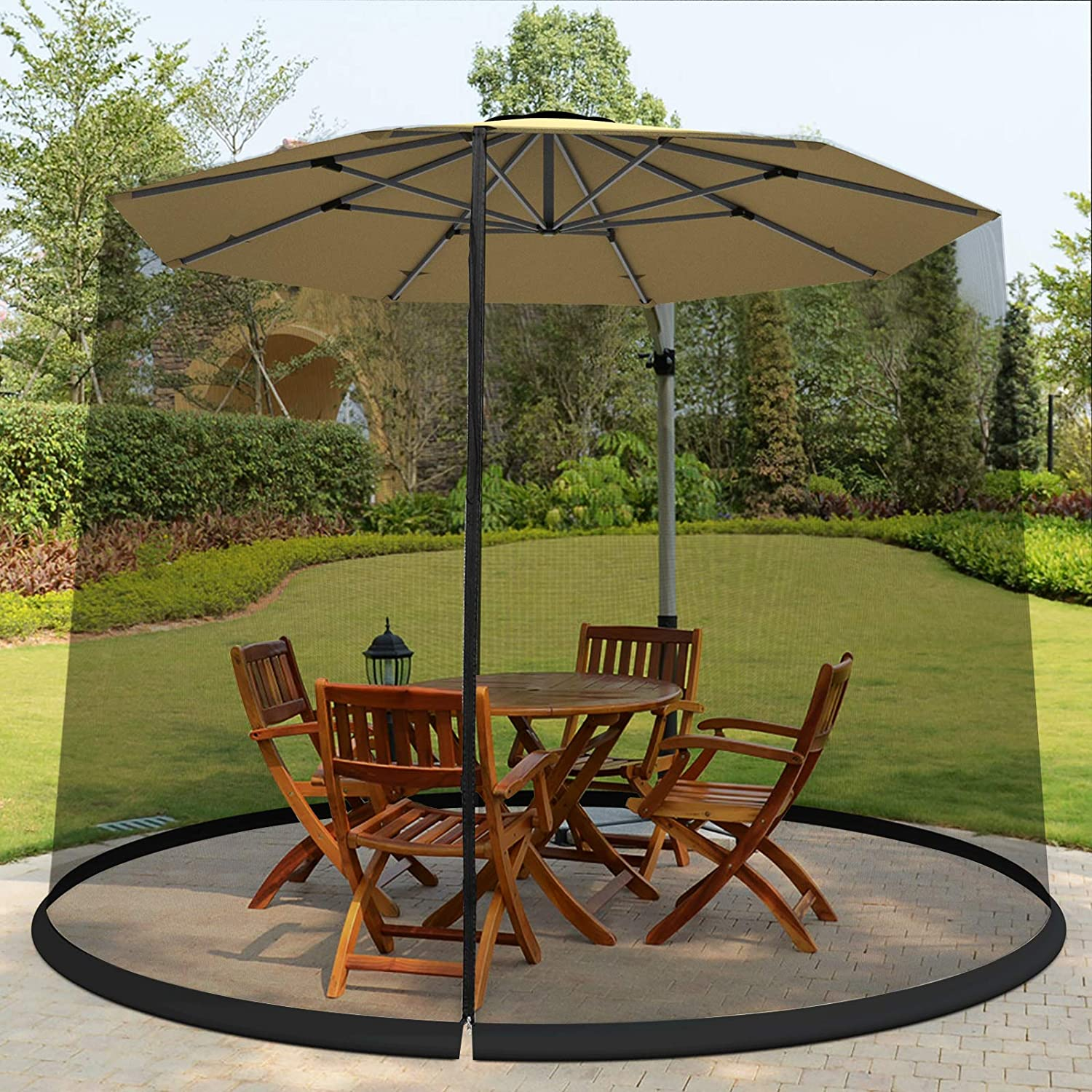 Tangkula 9/10FT Patio Umbrella Screen, with Zipper Door and Polyester Mesh Netting, Height and Diameter Adjustable, Suitable for Outdoor Patio Camping Umbrella
