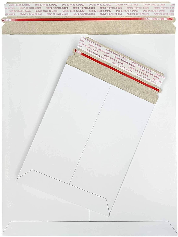 Stay Flat Cardboard Mailer Envelopes, 11 x 13.5 inch, Kraft White, Self Adhesive Sealing Strip, 200 Pack