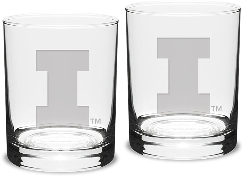 University Glass NCAA Illinois Illini Adult Set of 2 - 14 oz Double Old Fashion Glasses Deep Etch Engraved, One Size, Clear