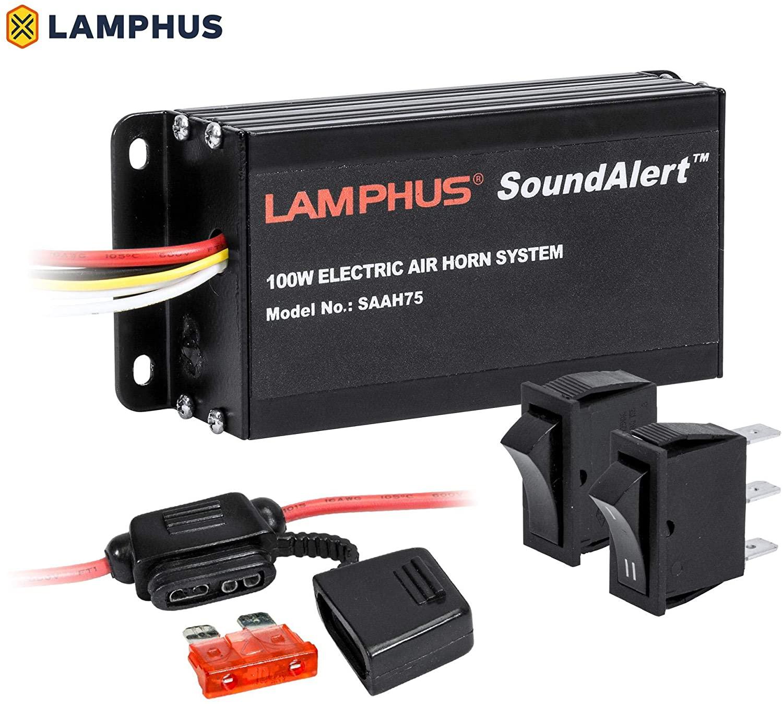 LAMPHUS SoundAlert 12V 100W Electric Police Air Horn Amplifier [Hands-Free] Train Truck Police Siren Horn for Vehicles Truck UTV ATV Car POV