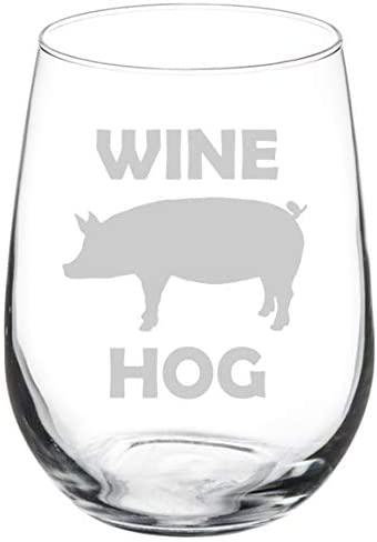 Wine Glass Goblet Funny Pig Wine Hog (17 oz Stemless)