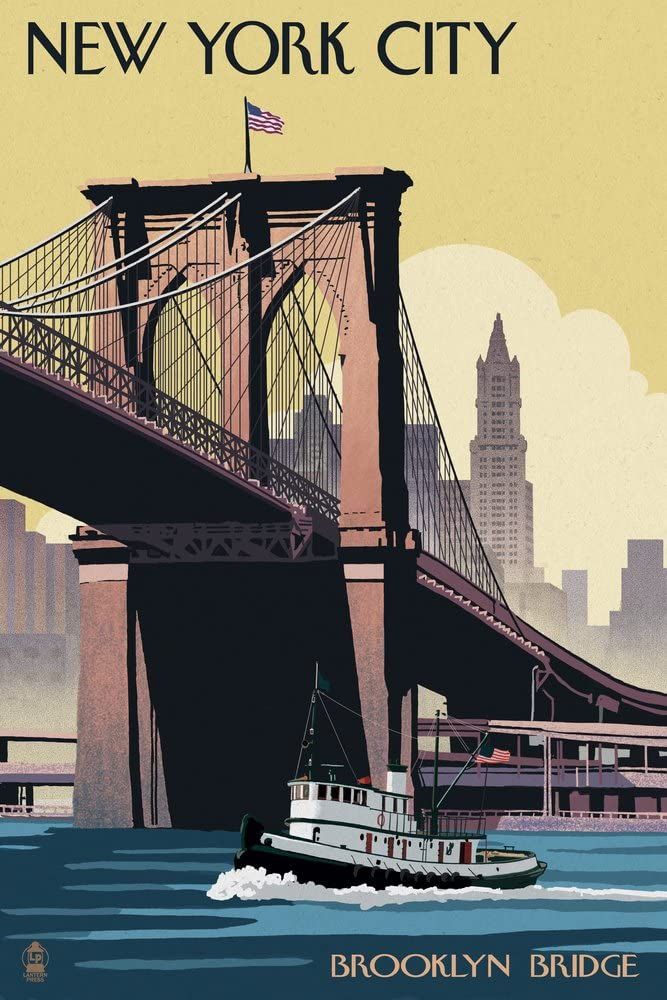 New York - Brooklyn Bridge (12x18 Art Print, Wall Decor Travel Poster)
