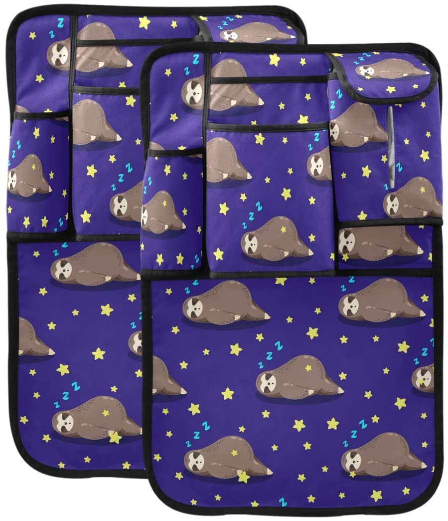 Exnundod Lovely Sloths Purple Car Seat Back Protector Backseat Organizer Child Kick Guard Protects Mat