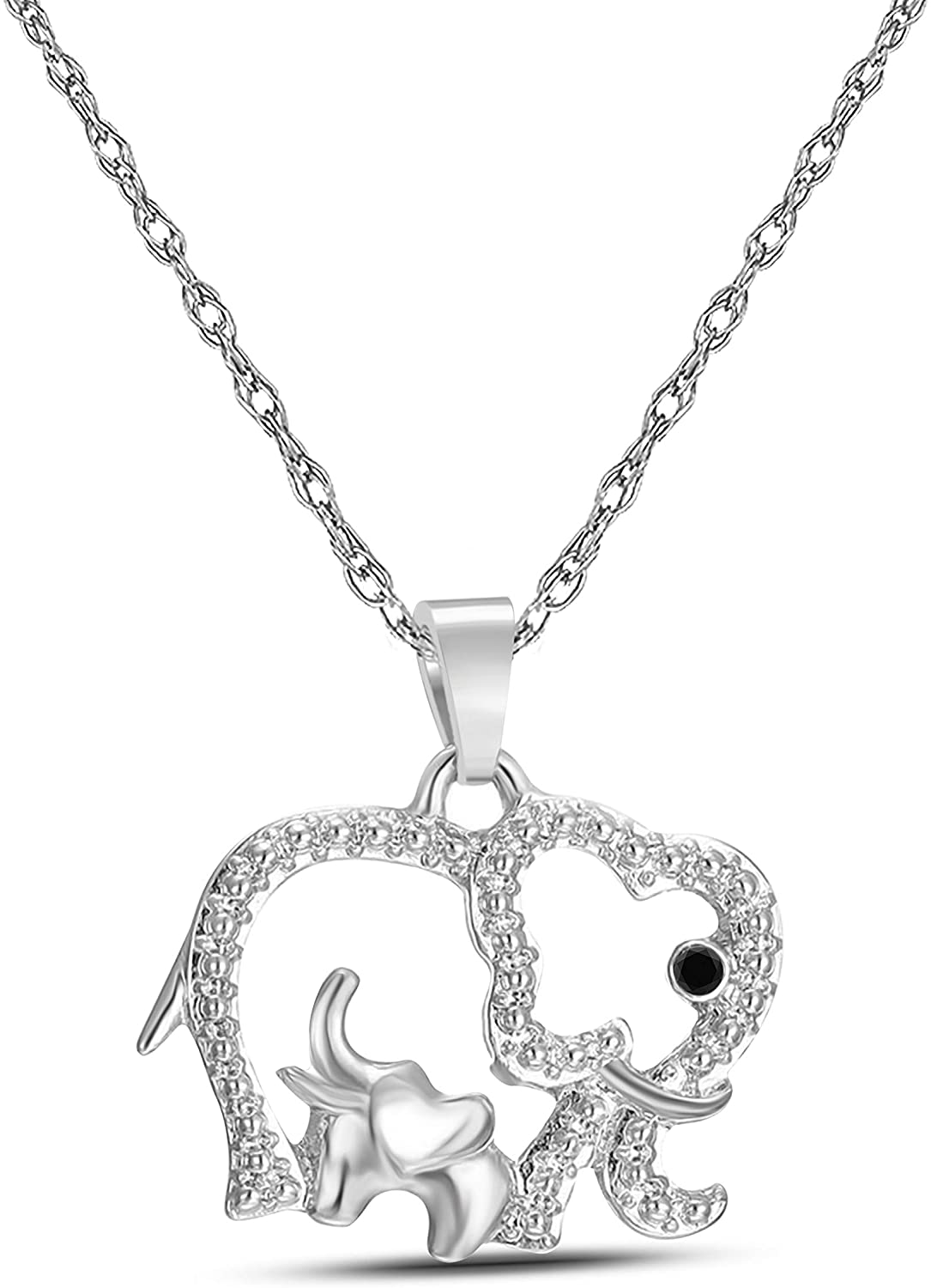 Silver Gems Factory Black Sapphire 14K White Gold Plated Alloy Crystal Charm Mom & Baby Elephants Pendant Necklace