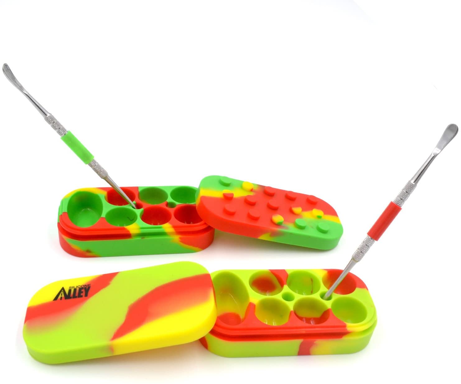 SILICONE ALLEY, 2 Carving Tool + 2 Tie Dye-Colored Multi-Compartment Wax Container