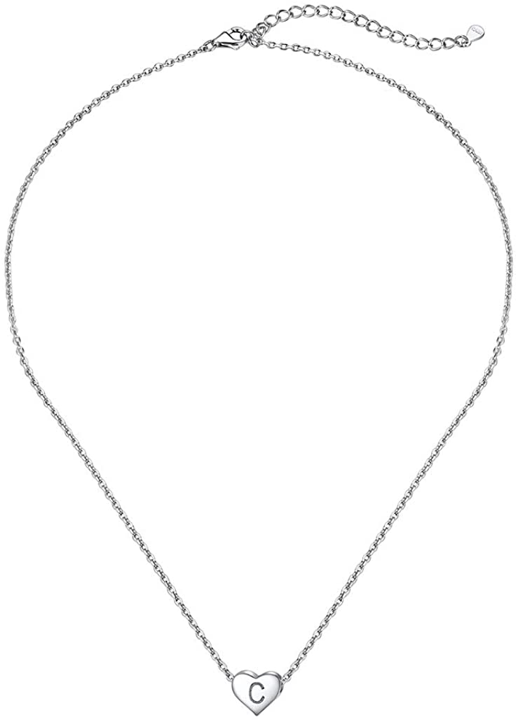 Silvora Sterling Silver Heart Initial Necklace, Dainty Alphabet A-Z Pendants Jewelry for Women Teens, Minimalism S925 Girls Letter Necklaces with Gift Packaging