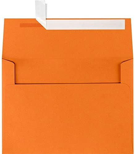 LUXPaper A6 Invitation Envelopes for 4 5/8 x 6 1/4 Cards in 80 lb. Mandarin, Printable Envelopes for Invitations, with Peel and Press Seal, 1000 Pack, Envelope Size 4 3/4 x 6 1/2 (Orange)