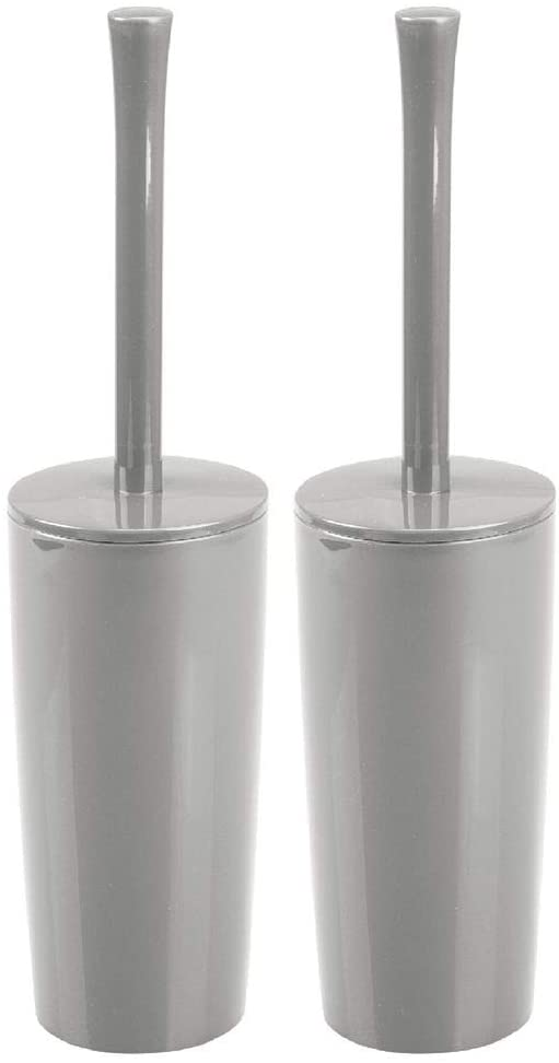 mDesign Slim Compact Plastic Toilet Bowl Brush and Holder for Bathroom Storage - Sturdy, Deep Cleaning - 2 Pack - Gray