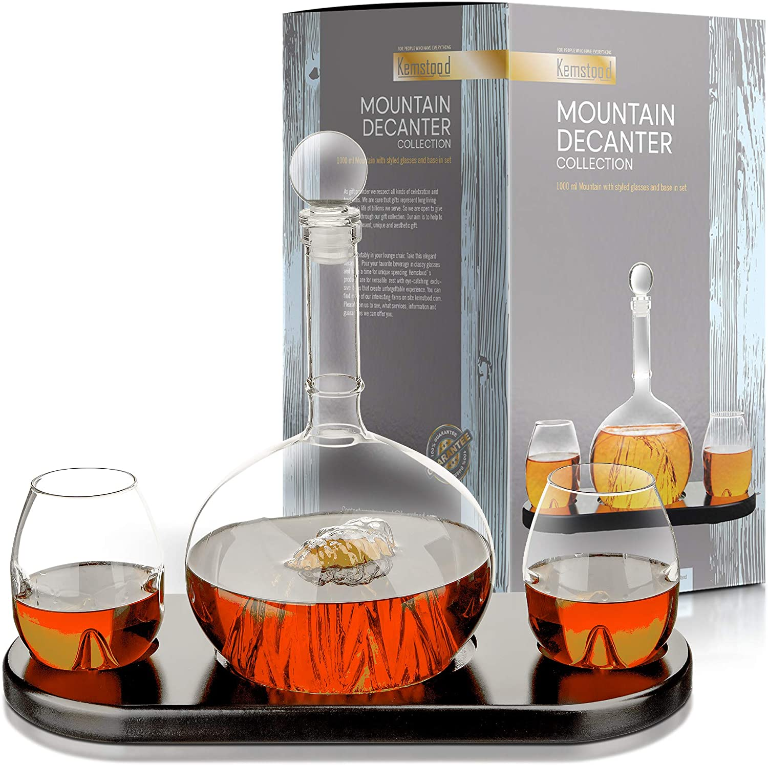 Whiskey Decanter Sets Crystal Glass Decanter for Alcohol – MOUNTAIN Decanter for Men – Personalized GIFT Set with 2 Glasses and Wood Base for Liquor, Scotch, Bourbon, Brandy, Vodka