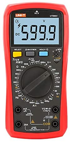UNI-T Digital True RMS Multimeter UT890C 6000 Counts DC/AC Voltage DC/AC Current ACV Frequency Resistance Capacitor Temperatue NCV hFE Diode Continuity Test