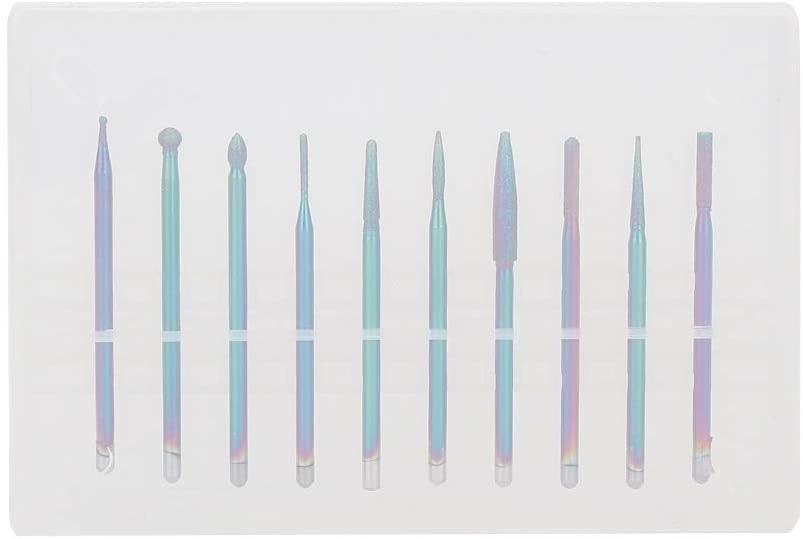 Rockyin 10Pcs Tungsten Alloy Nail Drill Bits Nail Polishing Burr Manicure Pedicure Accessory (Type C)