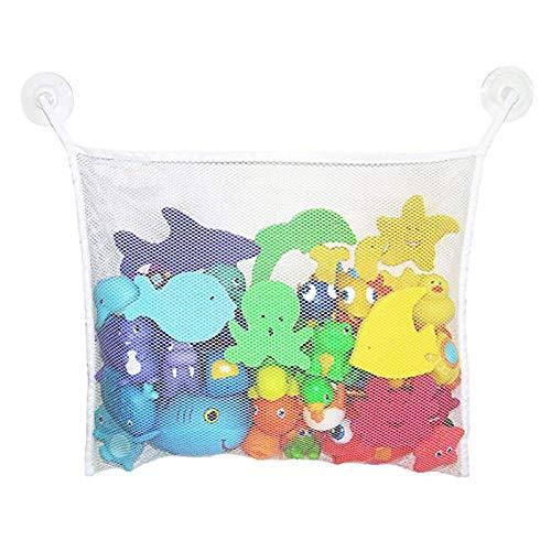 Bath Toy Organizer Baby Bathtub Hanging Mesh Net Kids Time Toys Storage Suction Bag with 2 Hooks (White)