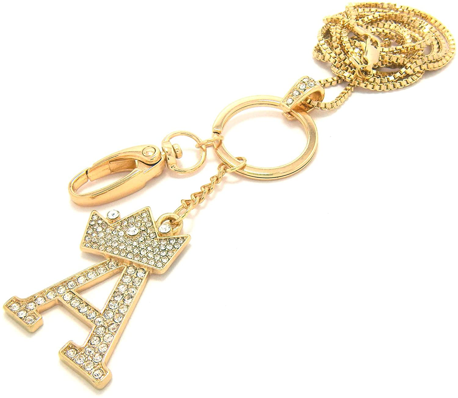 Sometheme Special Unisex A to Z Initial Letter Pendant Lanyard Necklace with Keyring/ID Holder Hook