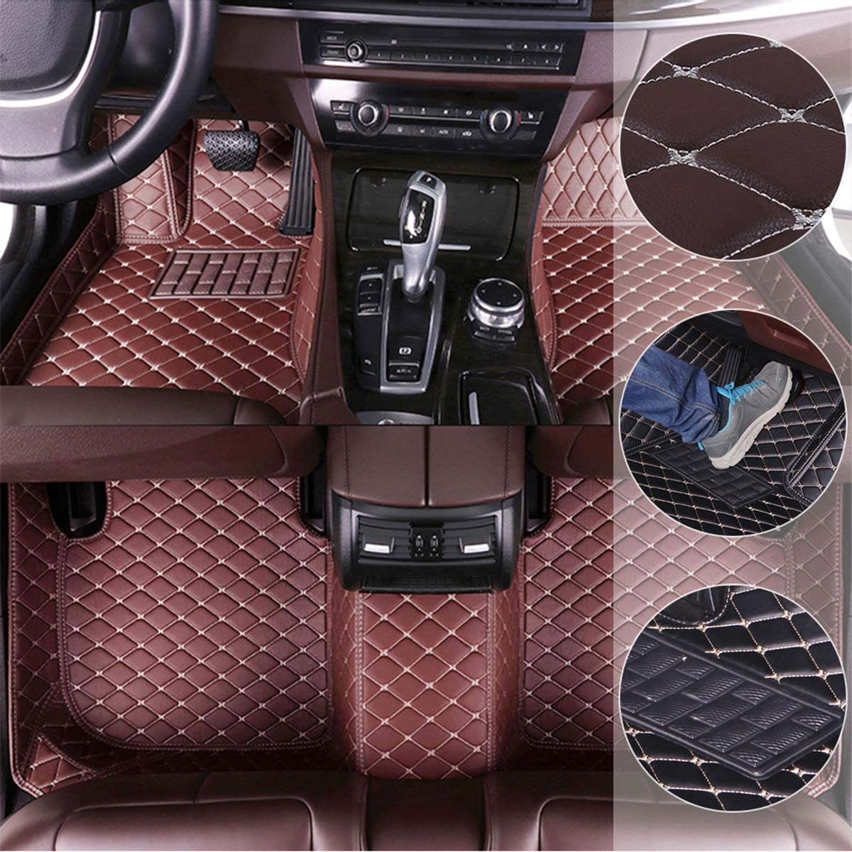 ytbmhhuoupx Car Floor Mats for BMW M3 4-Door 2007-2013 E30 F80 E90 E92 Custom Leather mat Full Surrounded Protection Waterpoof Non-Slip Set Left Drive Coffee
