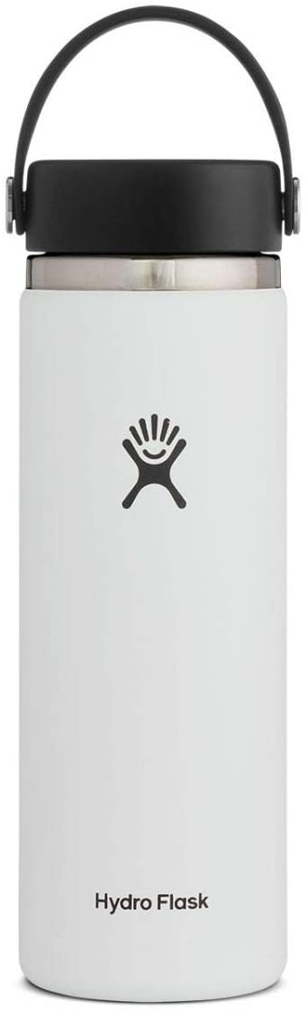 Hydro Flask Water Bottle - Stainless Steel & Vacuum Insulated - Wide Mouth 2.0 with Leak Proof Flex Cap - 20 oz, White