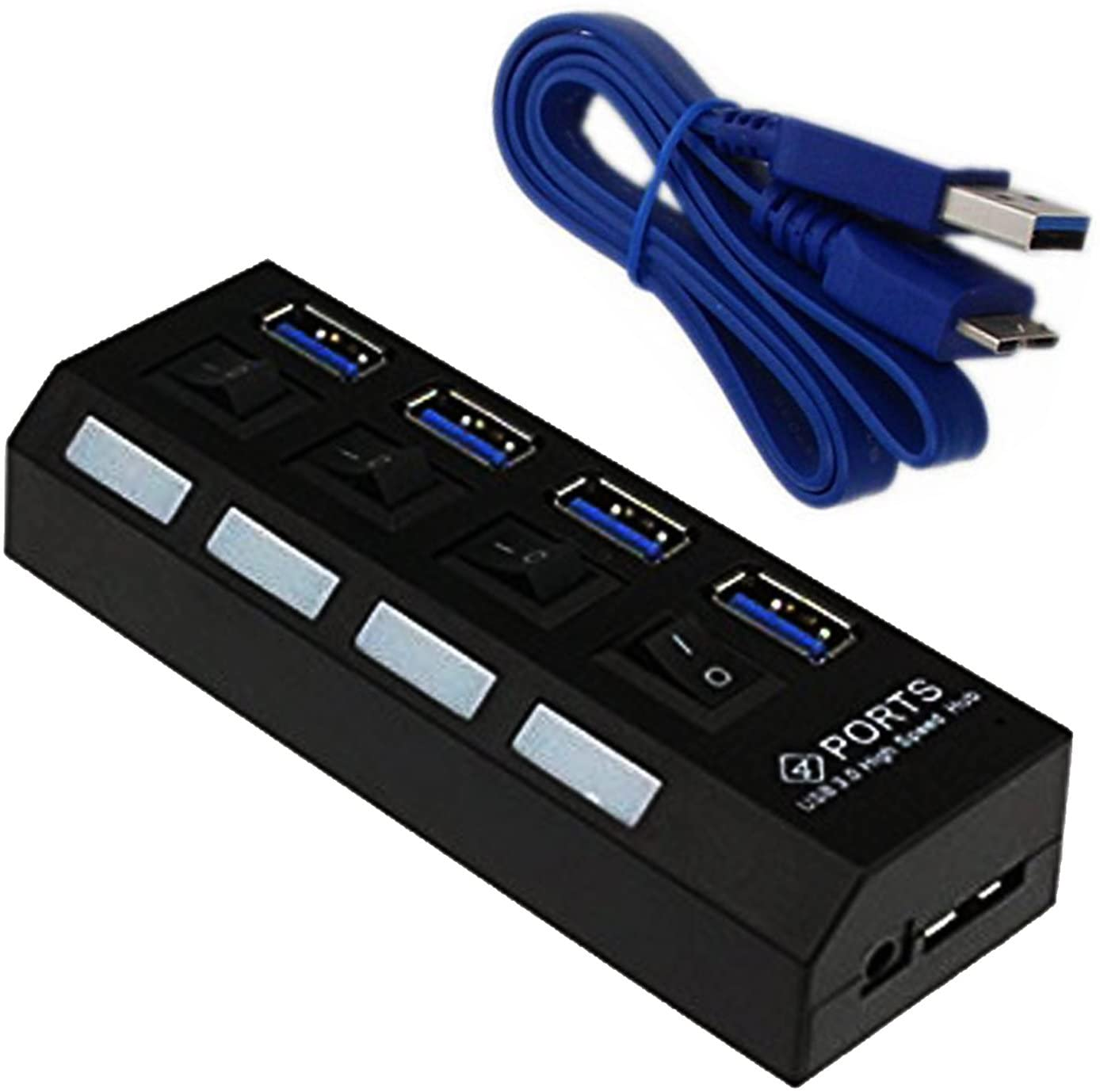 Fashionlive USB Hub SuperSpeed 4 Port USB 3.0 Hub with Individual Power Switches and LEDs with 2ft USB Data Cable