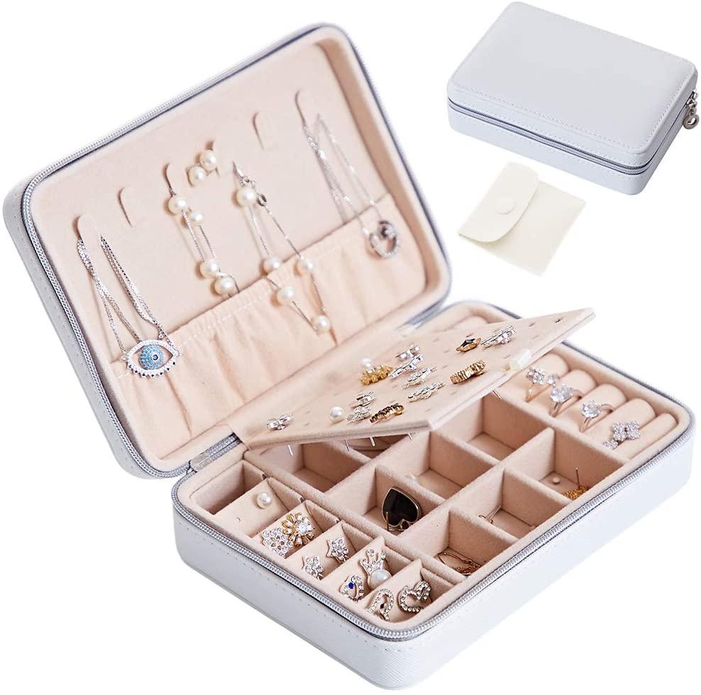 Small Faux Leather Jewelry Box Organizer, Portable Travel Jewelry Case - Zipper, White