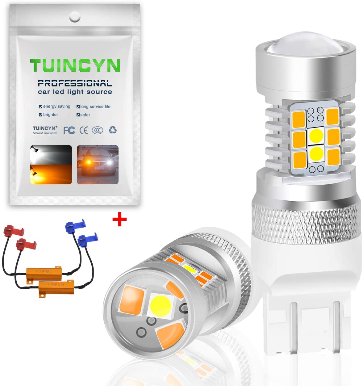 TUINCYN 3157 CANBUS Error Free Switchback LED Turn Signals Bulbs with 50W 8 Ohm Load Resistors Extremely Bright 3156 3155 3457 3057 4057 2835 21 SMD Amber-Off-Amber-Off Car Tail Brake Light(2-Pack)