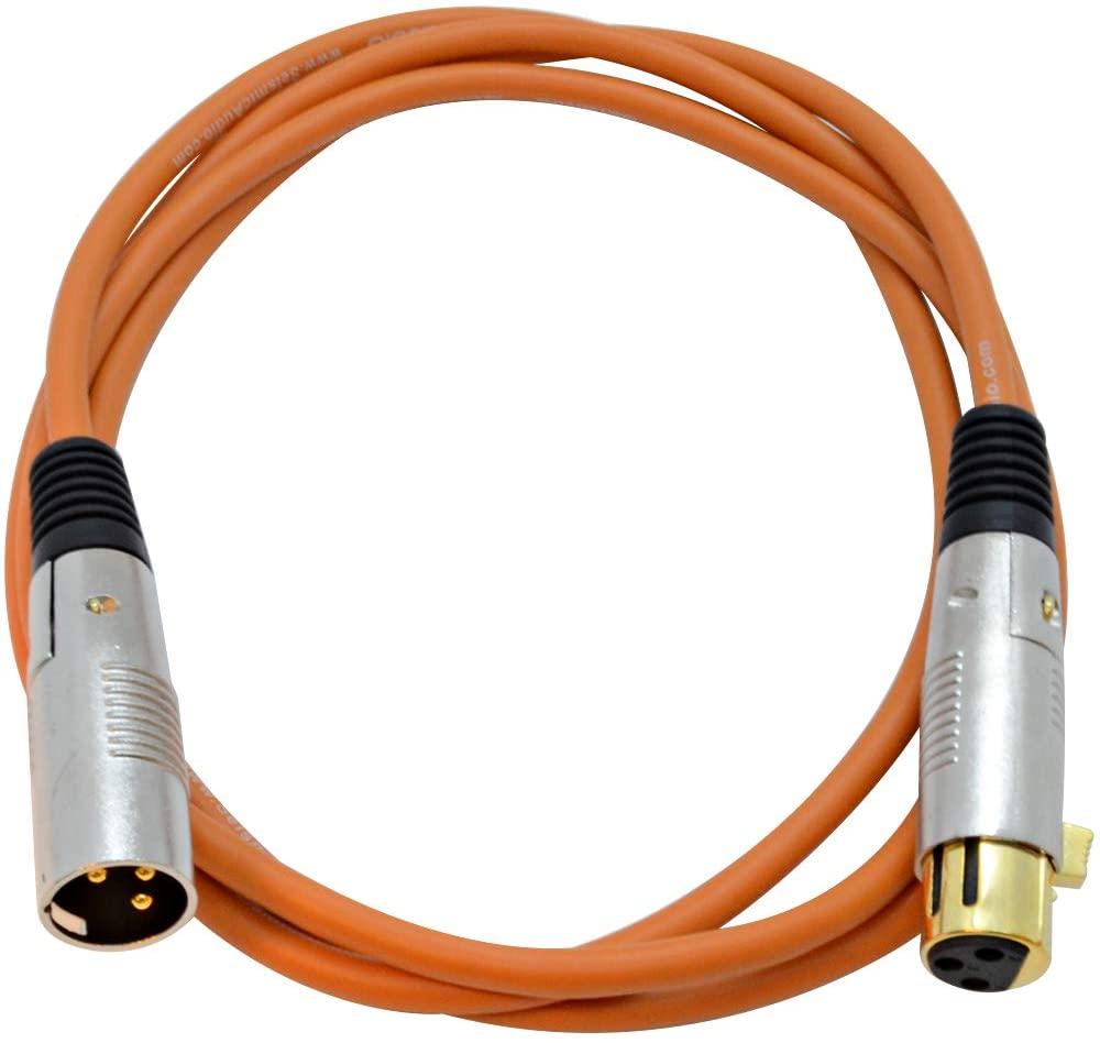 Seismic Audio Premium 6 Foot Orange XLR Patch Cable 3 Pin XLRF to XLRM Mic Cord, 6' (SAPGX-6Orange)