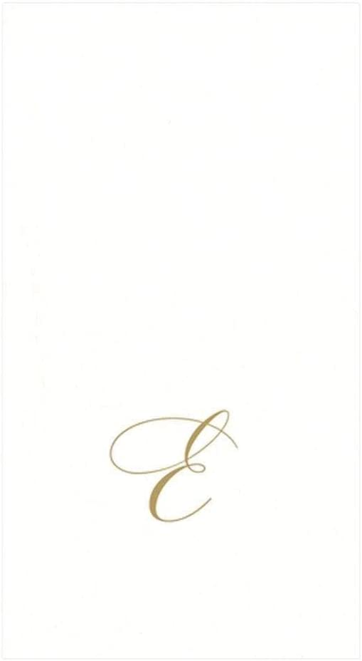 Caspari White Pearl & Gold Paper Linen Boxed Guest Towel Napkins in Letter E - Three Packs of 24