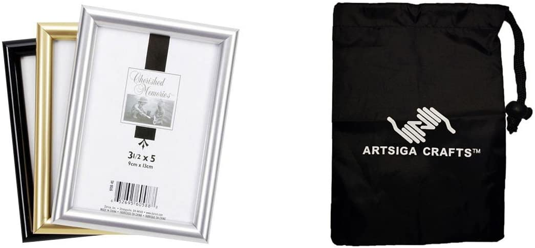 Darice DIY Crafts Supplies Picture Frame Tabletop Plastic Black 3.5 x 5 inches (12 Pack) 9700 4B Bundle with 1 Artsiga Crafts Small Bag