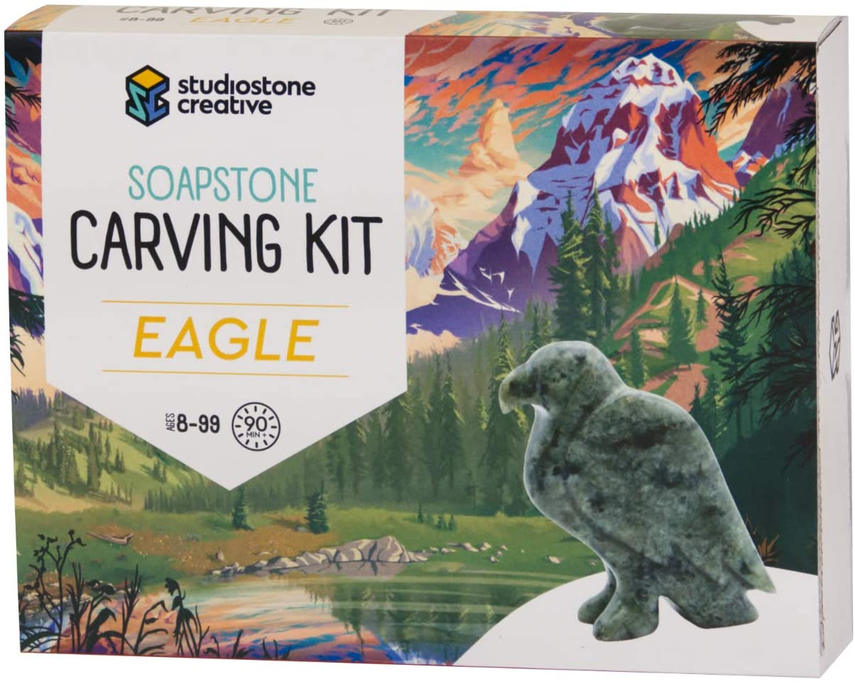 Eagle Soapstone Carving and Whittling—DIY Arts and Craft Kit. All Kid-Safe Tools and Materials Included. for 8 to 99+ Years.