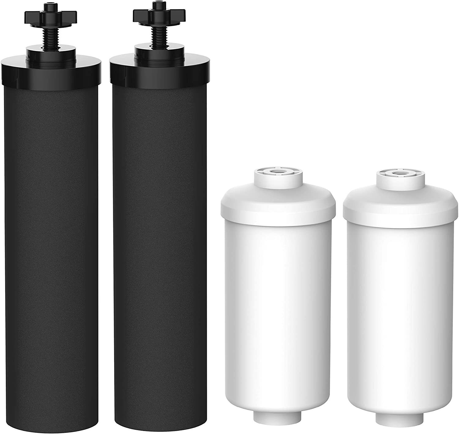 FilterLogic Water Filter, Compatible with Black Filters (BB9-2) & Fluoride Filters (PF-2) Combo Pack and Gravity Filter System - Includes 2 Black Filters and 2 Fluoride Filters …