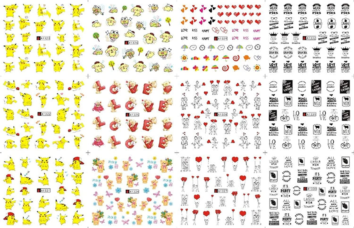 12 Sheets Water Decal Nail Art Decorations Nail Sticker Tattoo Full Cover Beauty Cartoon Mouse Decals Manicure Supplies 2020 New (A1321-1332)