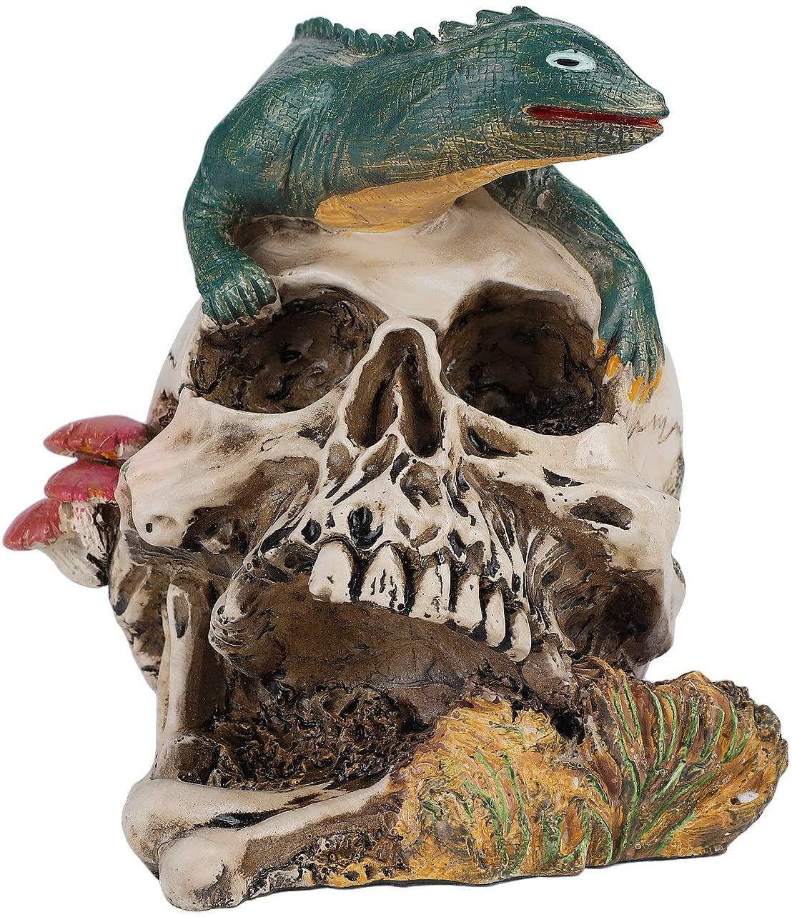 LONTG Halloween Skull Decorations Artwork Skull Hood Ornament Scary Halloween Skeleton Decorations for Lawn Garden Horrible Snake Animal Skeleton Head Halloween Decoration Realistic Human Skull Decor