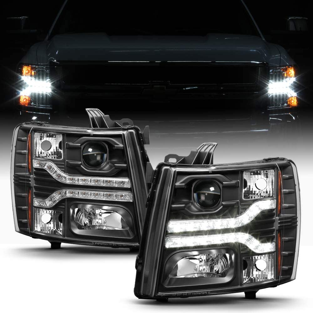 ACANII - For Black 2007-2013 Chevy Silverado 1500 2500 3500 LED DRL Strip Projector Headlights Driver+Passenger Side