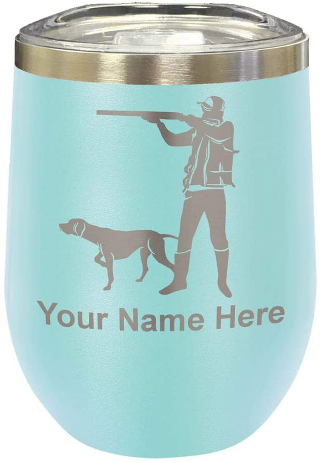 LaserGram Double Wall Stainless Steel Wine Glass Tumbler, Hunter with Dog, Personalized Engraving Included (Light Blue)