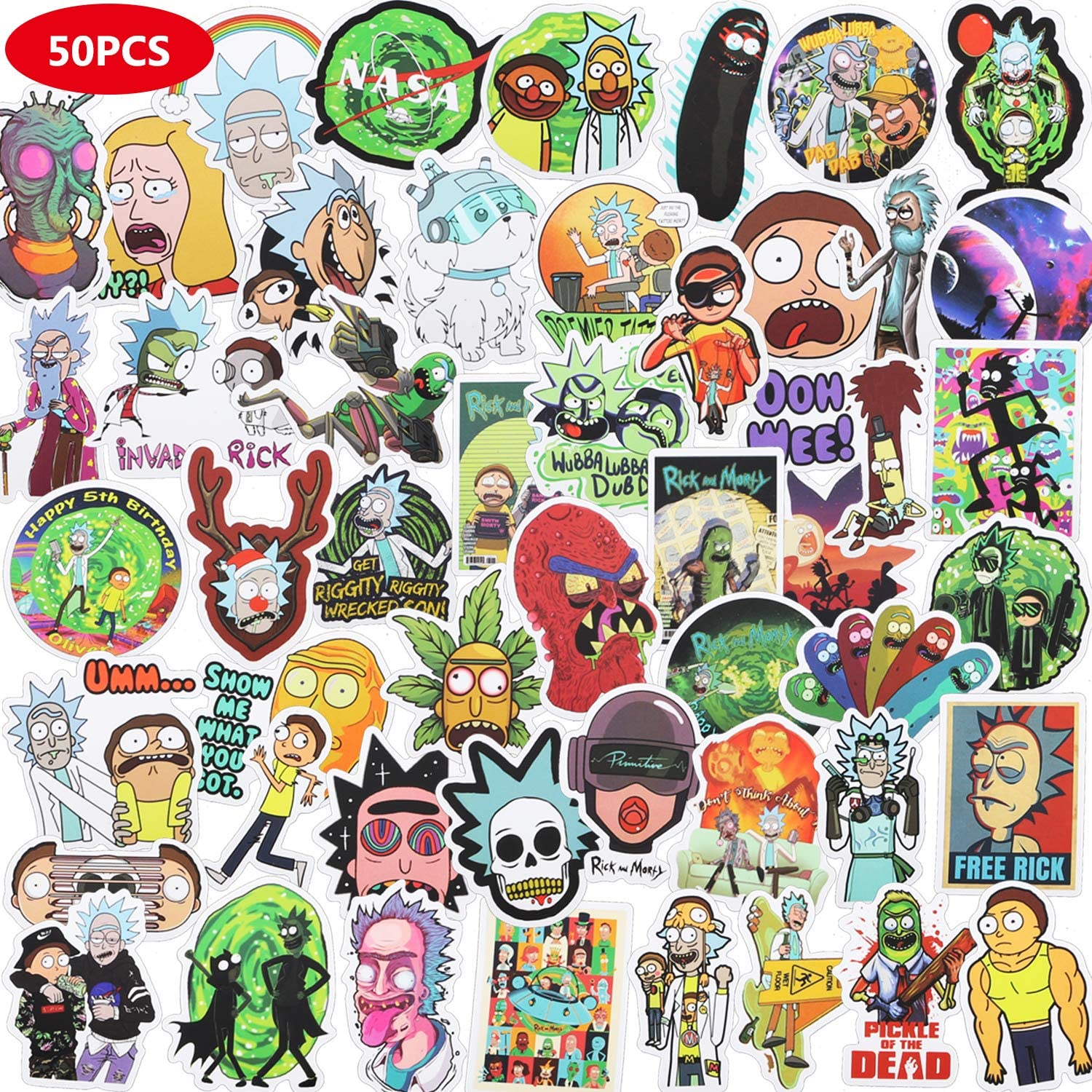 CHANSBO Rick and Morty Stickers (50 Pack), Waterproof Vinyl VSCO Stickers Cute Anime Stickers for Laptop, Skateboard, Water Bottles, Computer, Phone Case, Hydro Flask