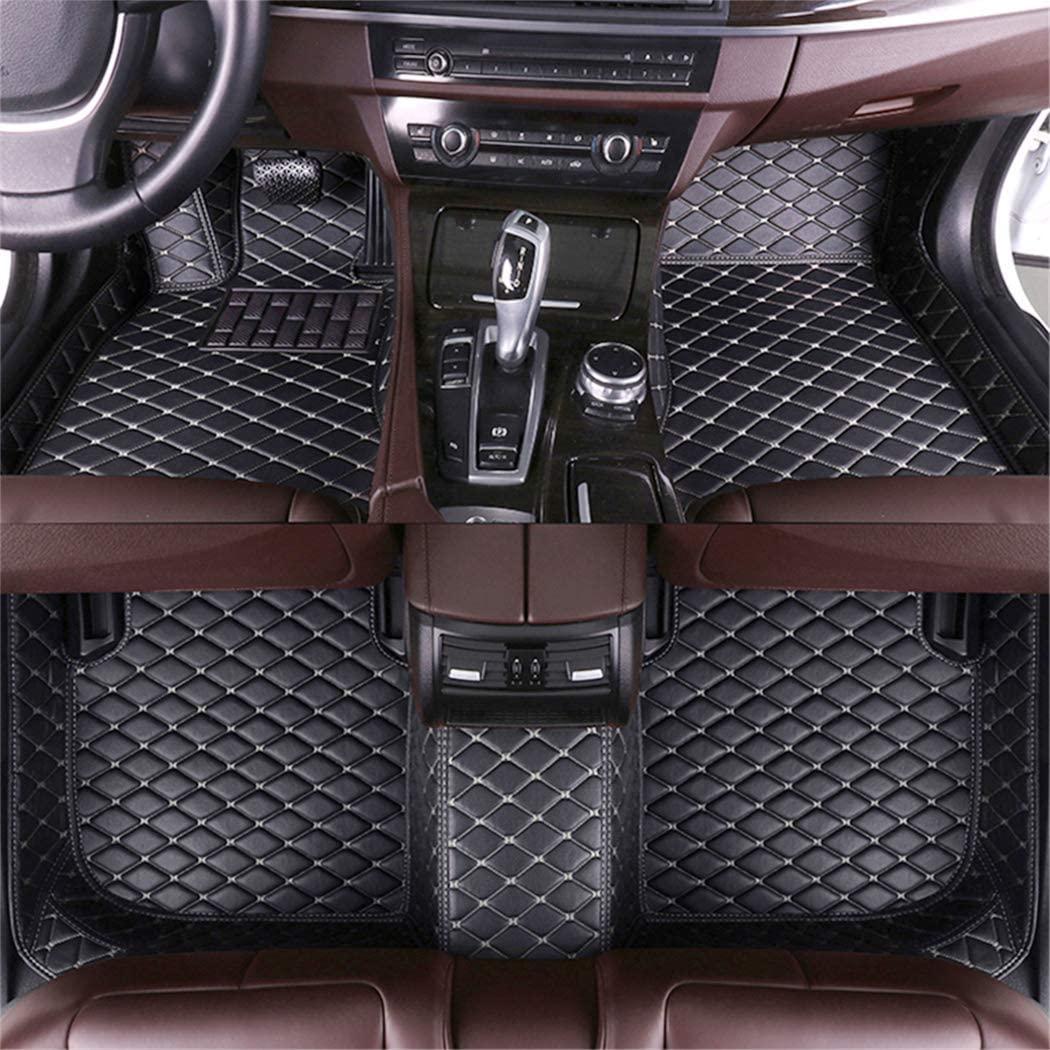 DBL Custom Car Floor Mats for Jaguar XJ6 2005-2009 Waterproof Non-Slip Leather Liners Automotive Carpets Interior Accessories Full Set (Black & Beige)