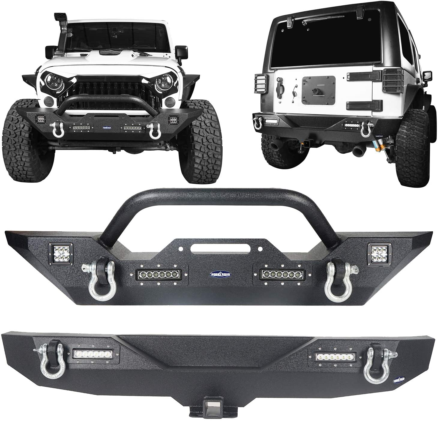 JK Wrangler Bumpers, Front and Rear Combo for 2007-2018 Jeep Wrangler JK Rubicon Sahara Sport X All Models