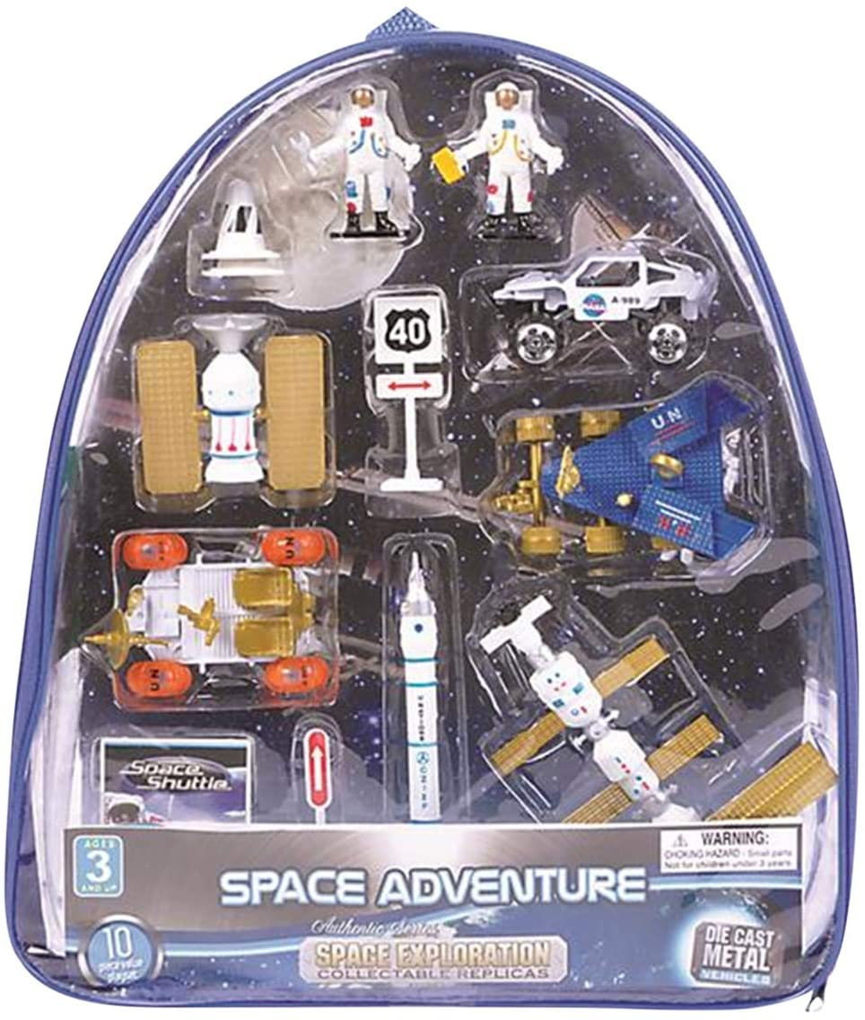 Space Themed Toys for Kids, Forest & Twelfth Children Learning Games, 13 Piece Set in Plastic Backpack, Suitable for Boys and Girls, Includes Astronauts, Shuttle, Rocket, Station & More