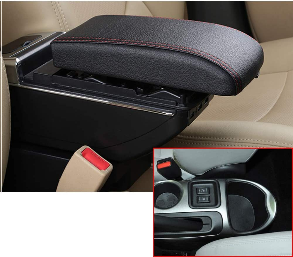MyGone Center Console Armrest Box for Nissan Juke 2014-2017, Car Interior Accessories Leather Arm Rest Organizer with Dual-Layer 7 USB Ports Adjustable Cup Holder Removable Ashtray Black