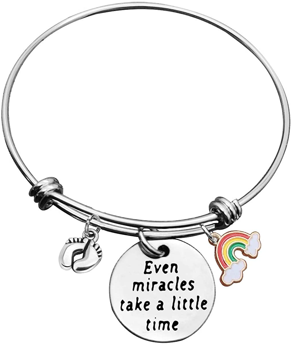 Inspirational Bracelet Encouragement Gifts Rainbow Baby Bracelets for Women Even Miracles Take a Little Time Bracelet Rainbow Bracelet for New Mom Memorial Jewelry Gifts for New Mommy
