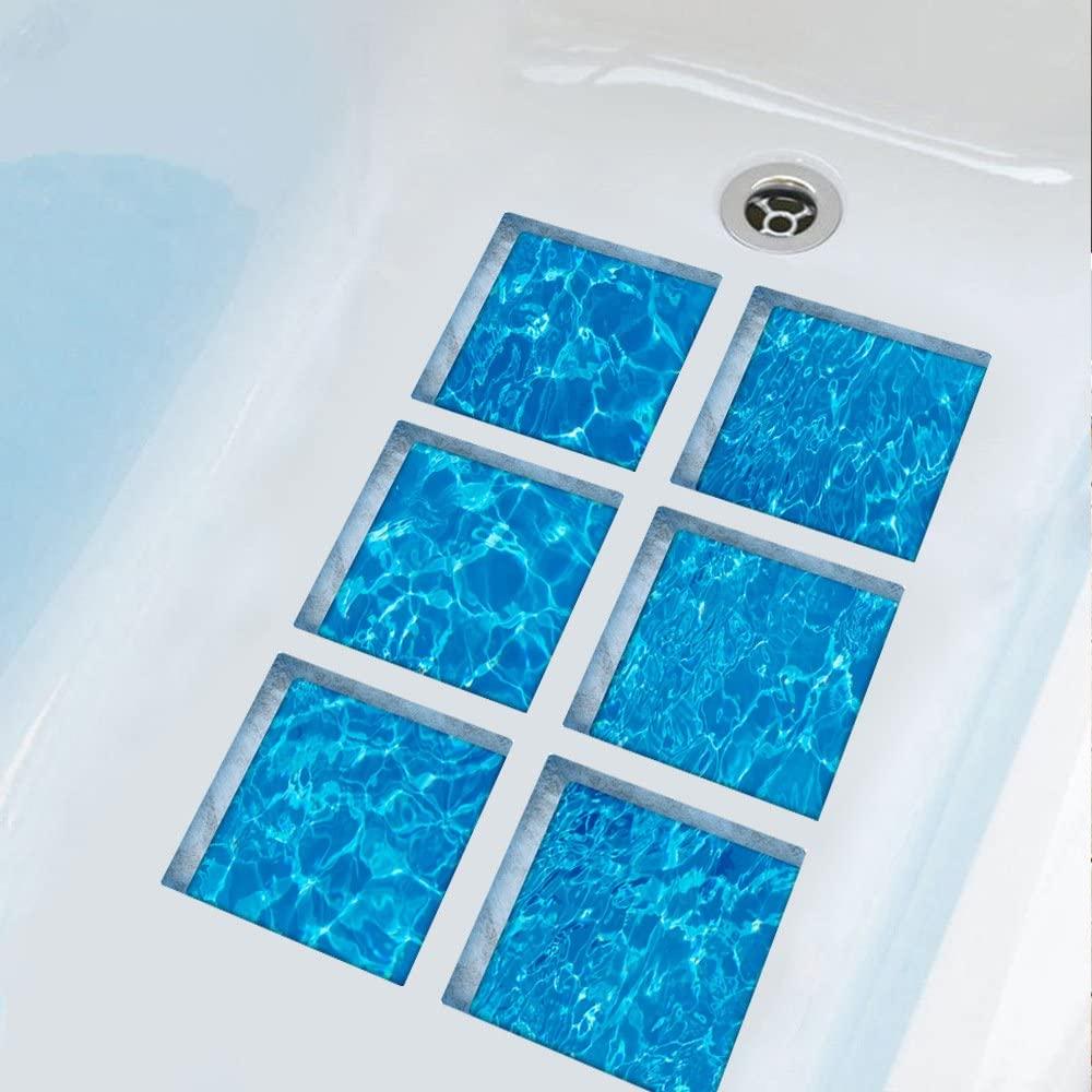 ChezMax 3D Stereoscopic Waves DIY Anti Slip Safety Shower Bath Tub Decal Stickers Bathtub Appliques 6 Pcs 5.9