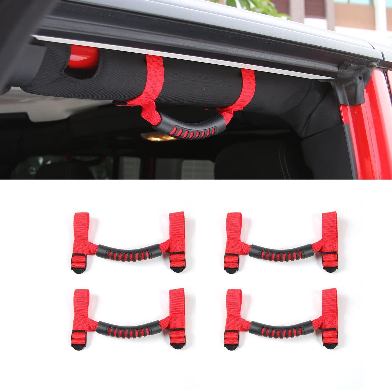 Voodonala for Jeep Roll Bar Grab Handles Grip Handle for Wrangler YJ TJ JK JKU JL JLU 1995-2019 (4 Red)