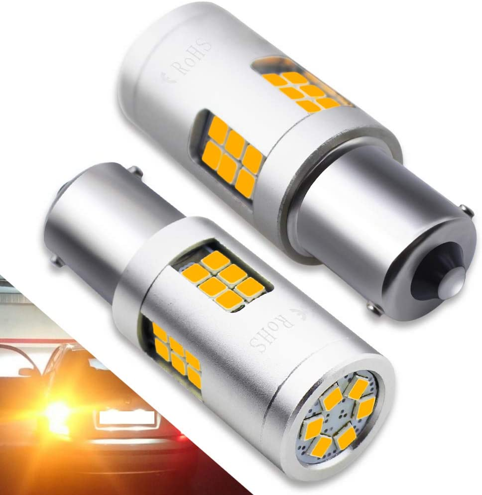 BOODLIED 20Watts No Hyper Flash BA15S LED Bulbs High Power 3030 30SMD Chips 1156 1141 1003 1073 7506 LED Lamps For Reverse Brake Turn Signal Lights,(No Load Resistor Required).Amber/Yellow.