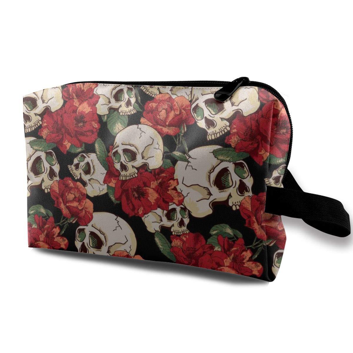 Red Flower Sugar Skull Pattern Cosmetic Bag Adorable Roomy Makeup Bags Travel Waterproof Toiletry Bag Accessories Organizer for Women Men Kid