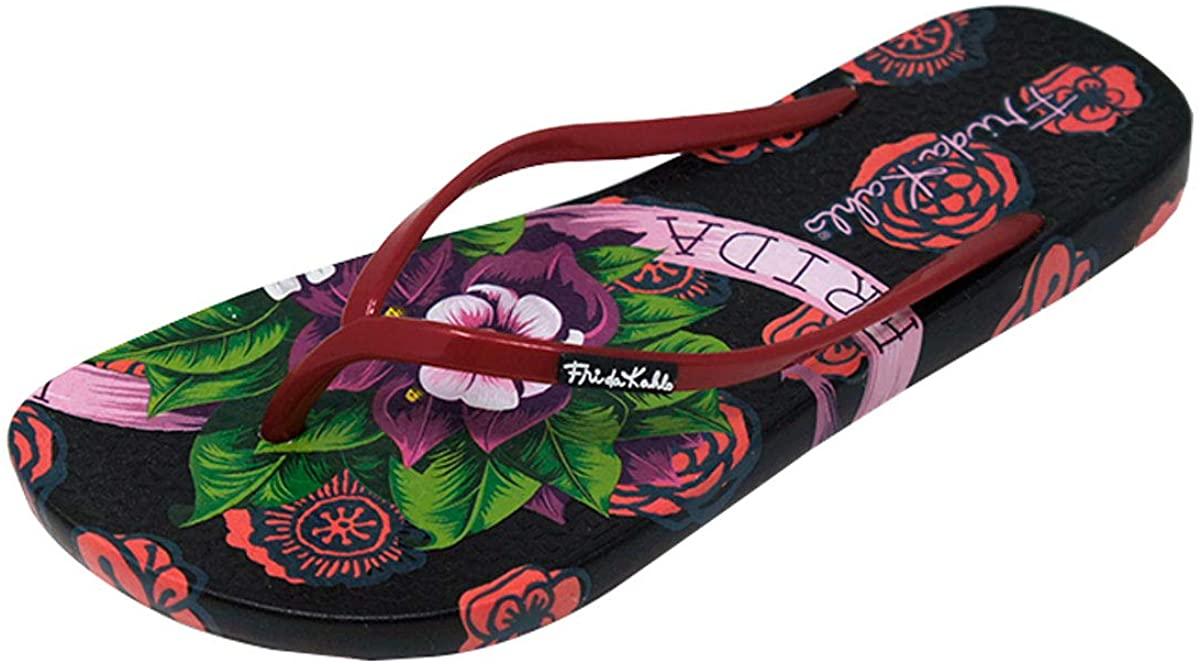 Ish Original Official Frida Kahlo Black Rose Women Flip-Flop Sandal