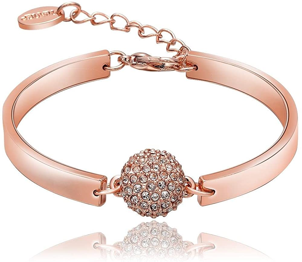 LANE WOODS 18K Rose Gold Plated Bangle Bracelets for Women - Cubic Zirconia Beads Adjustable Chain Bracelet Crystal Jewelry Gifts