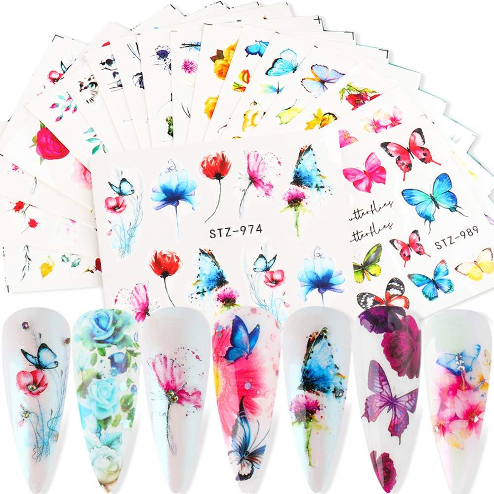 Butterfly Nail Art Stickers Decals Flowers Nail Water Transfer Decal Butterfly Design Nail Art Foils Transfer Tattoo for Women Girls Fingernails Toenails DIY Decoration Supplies Accessories 18 Sheets