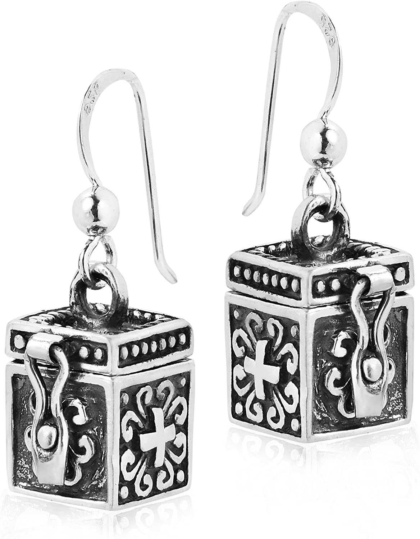 Unique Cross Prayer Box Locket .925 Sterling Silver Dangle Earrings